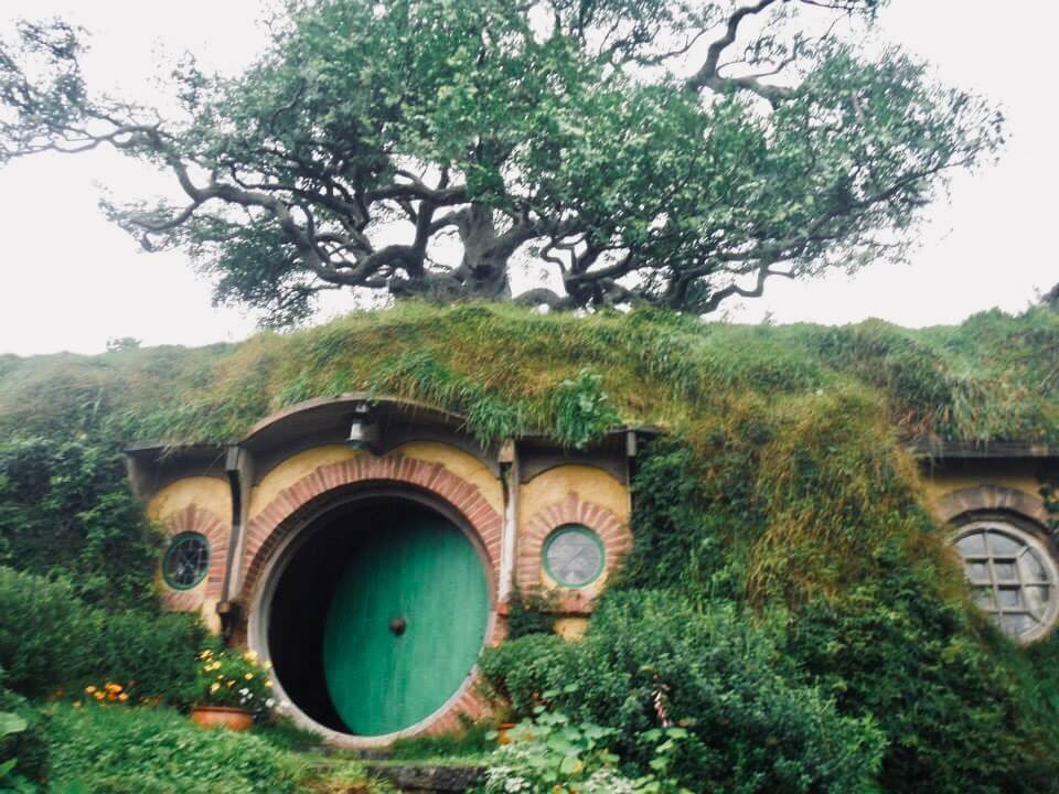 The party tree looms over a Hobbit House with a green door