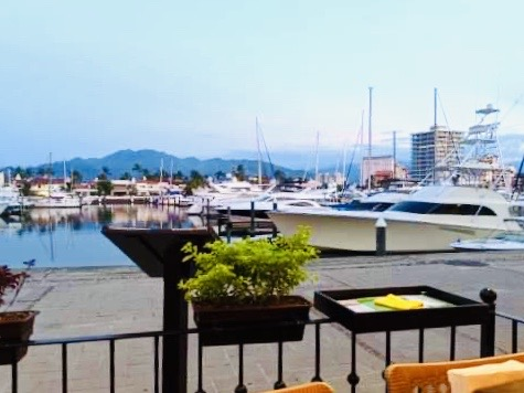 Views of the marina from our table