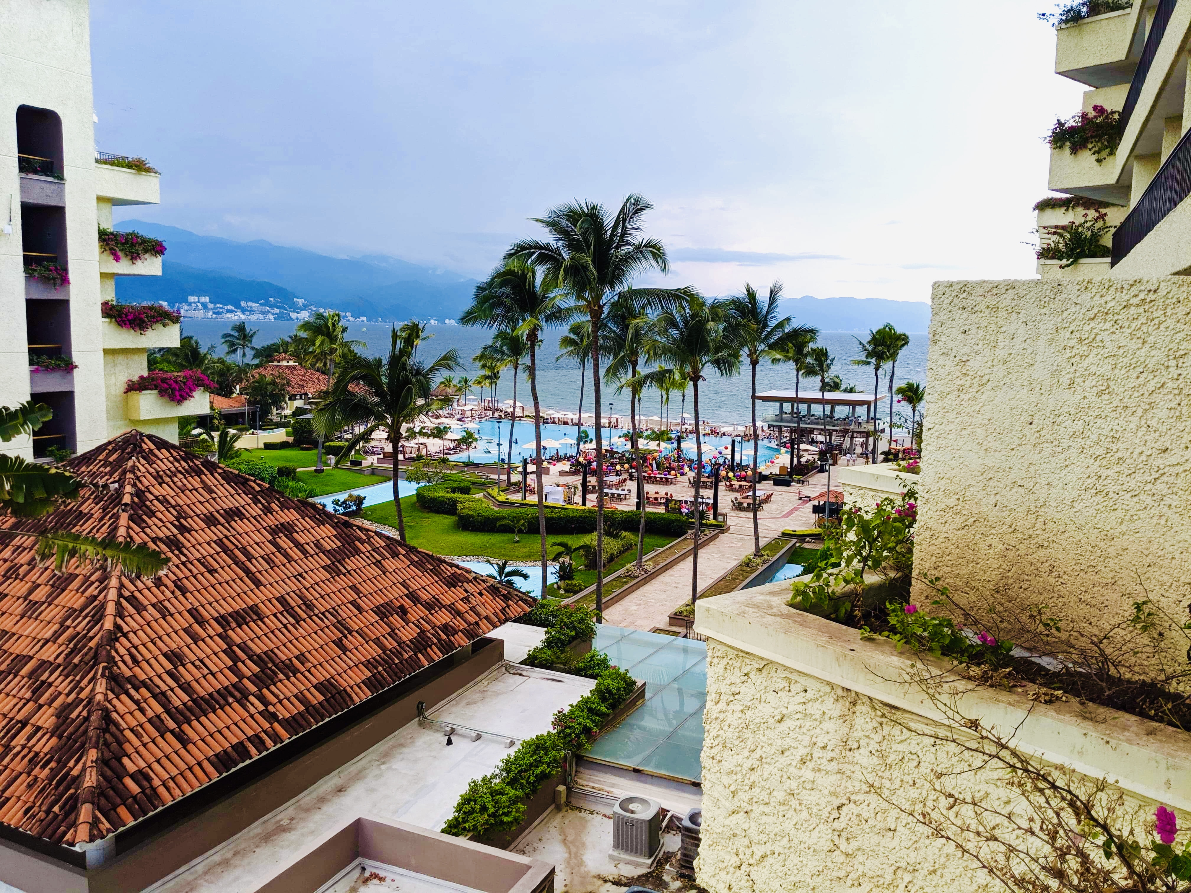 View of the pool, beach, and mountains, from our hotel terrace. 6 Puerto Vallarta Fun Facts