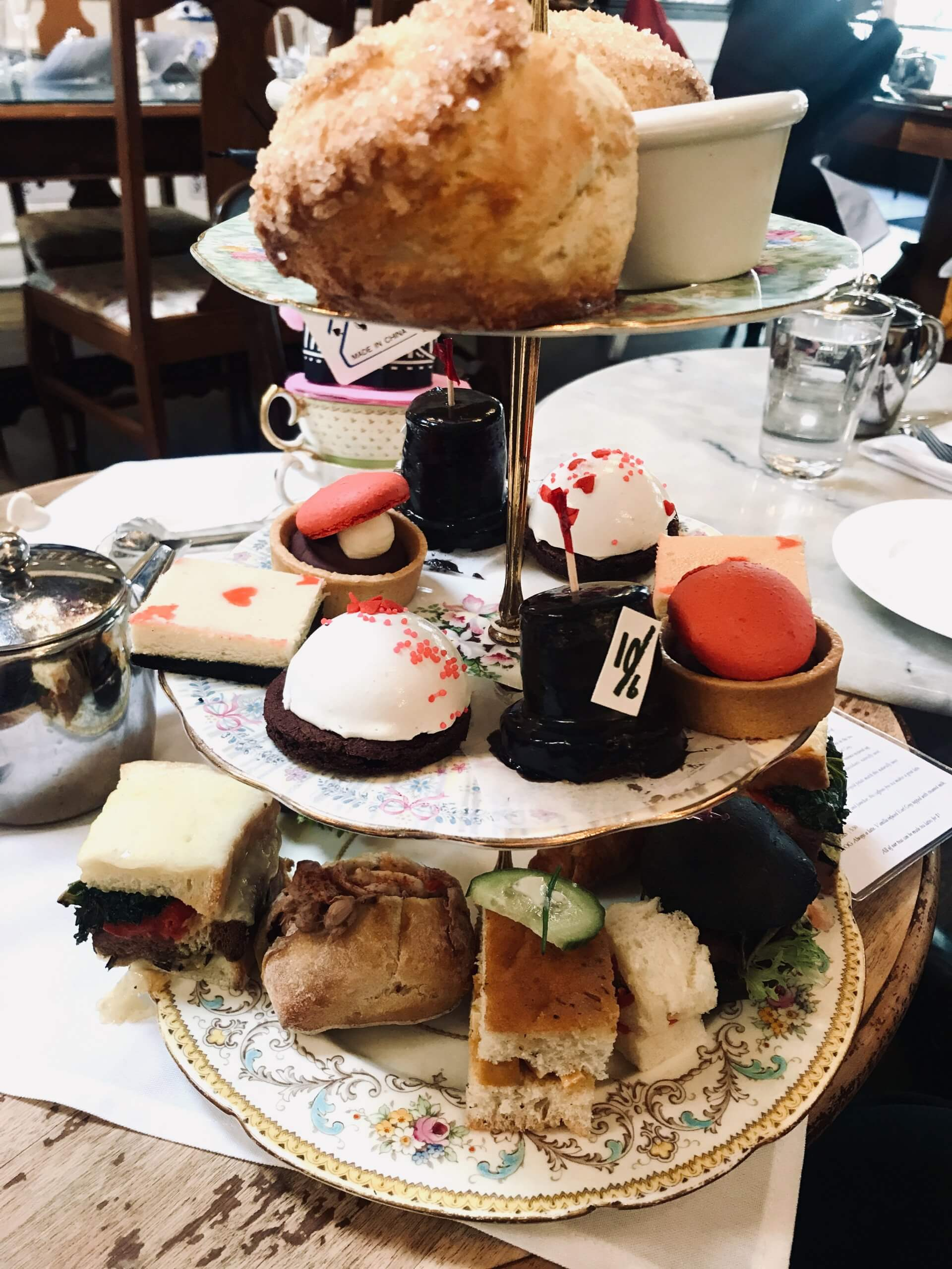 High tea tray, with the 3 different layers