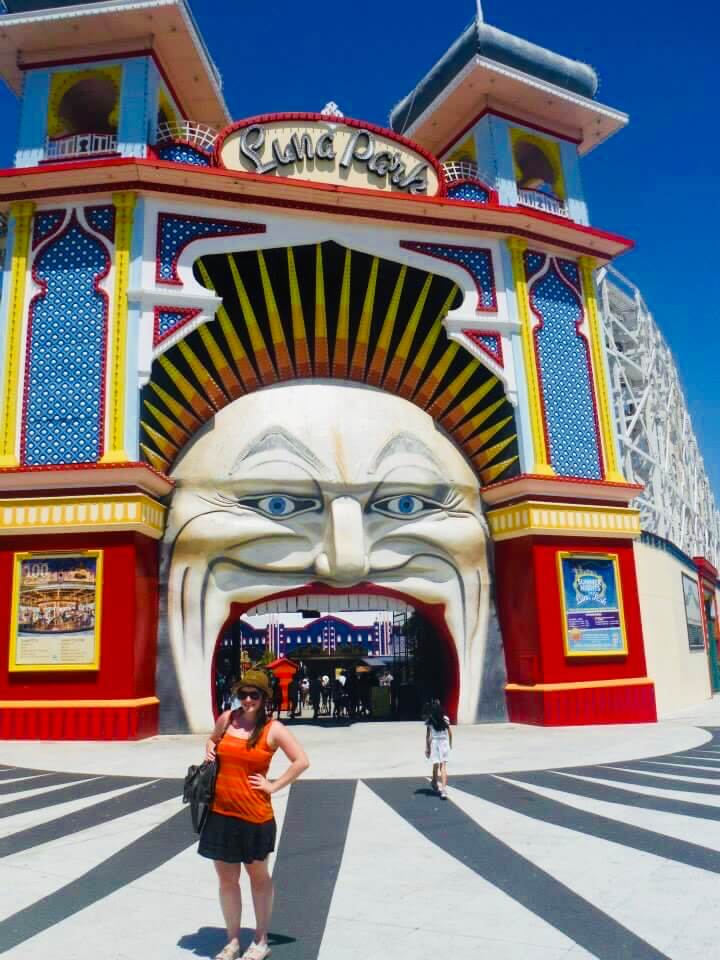Me standing in front of the entrance to Luna Park. Melbourne photo essay.